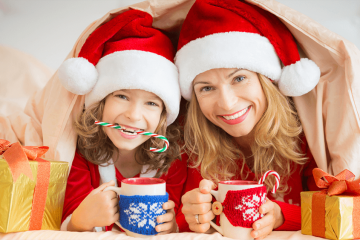 mom and daughter during holidays
