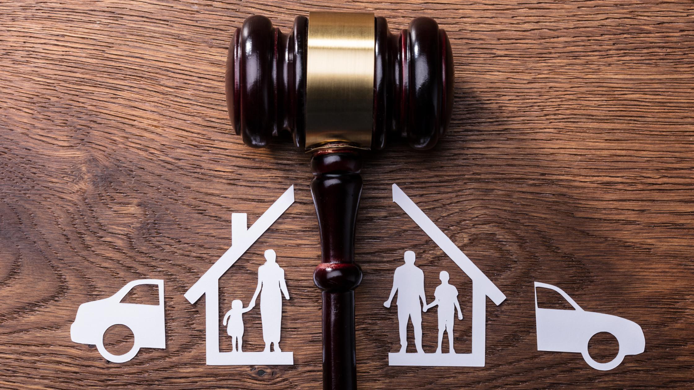 gavel and family split by divorce
